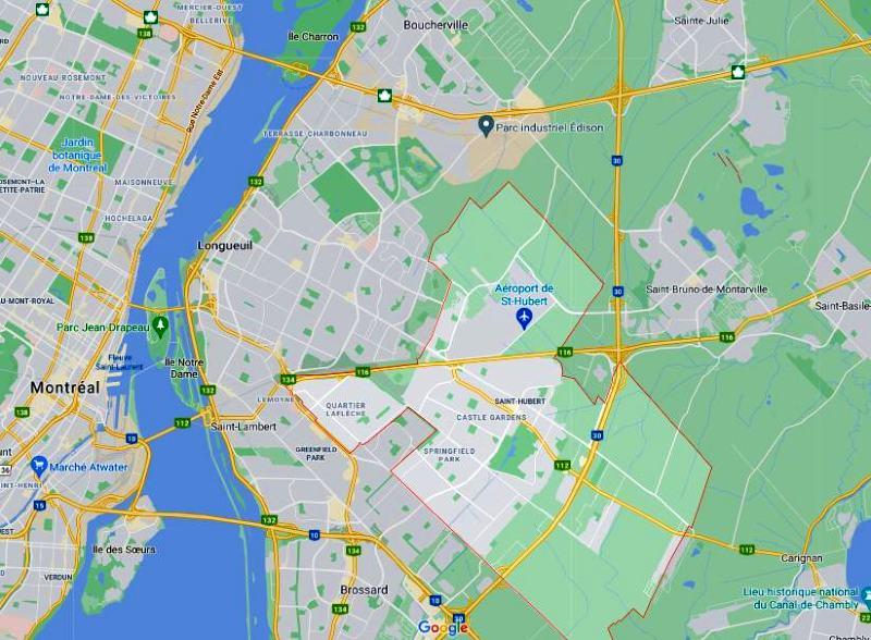 carte google maps arrondissement saint-hubert